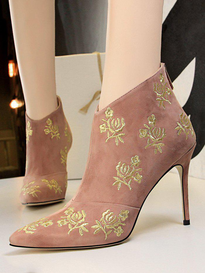 Discount Retro Golden Flower Embroidered Suede Ankle Boots