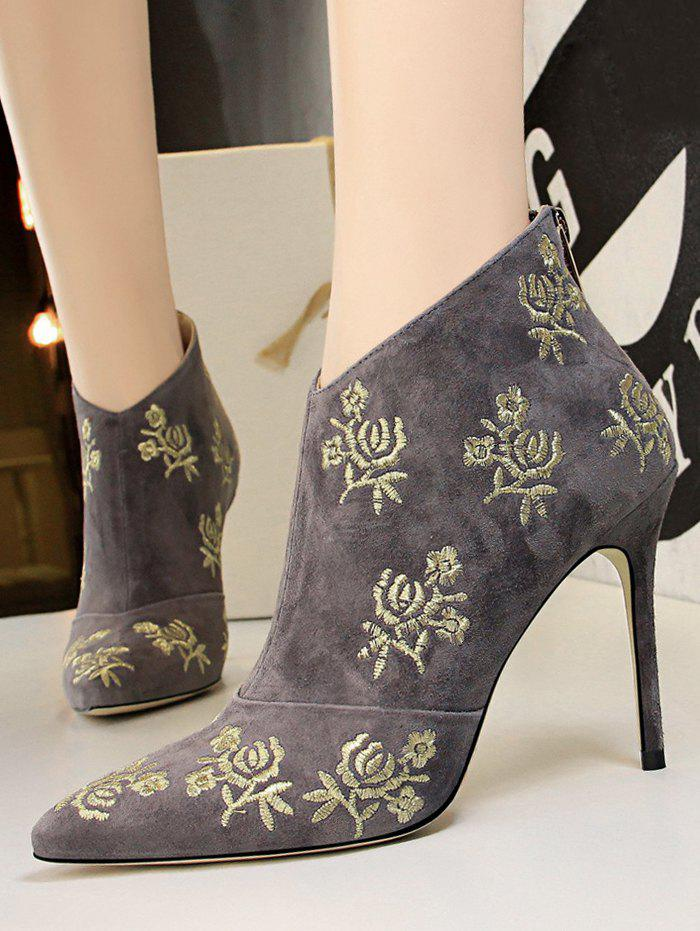 Outfit Retro Golden Flower Embroidered Suede Ankle Boots