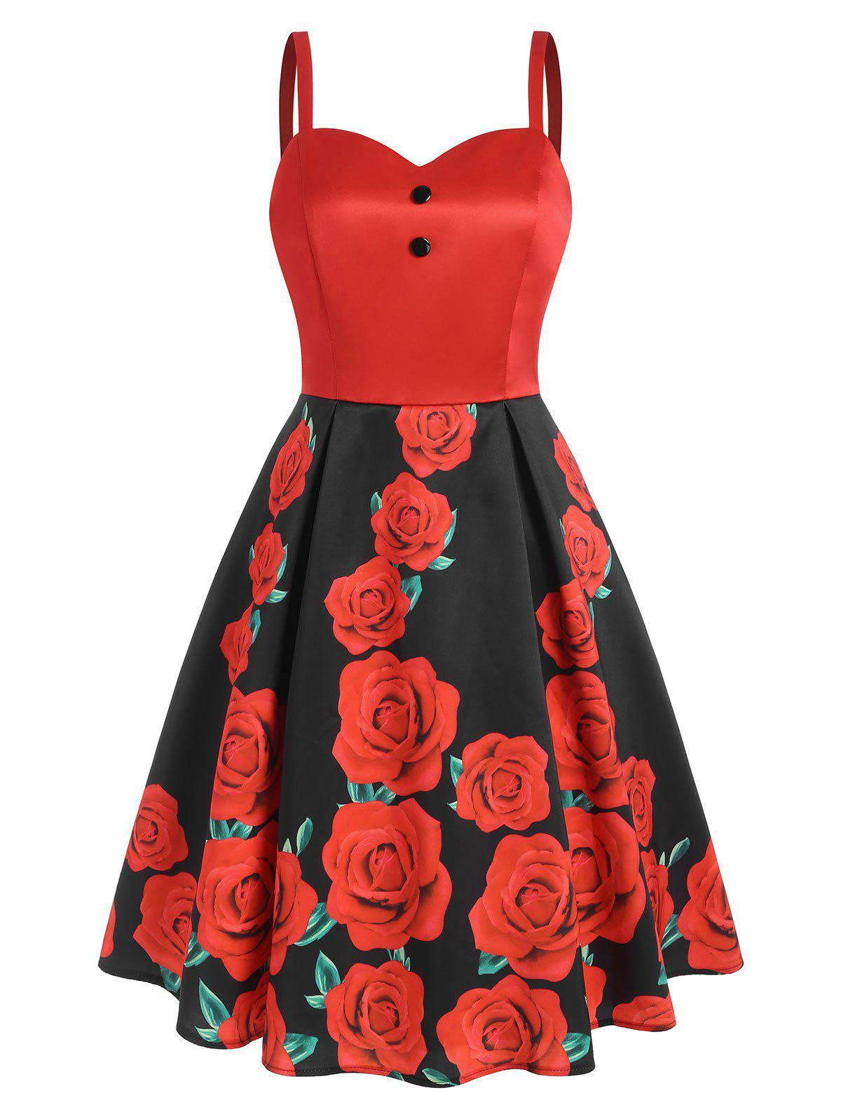 Chic Floral Print Mock Button Sweetheart Dress