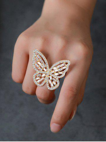 Butterfly Hollow Out Rhinestone Open Ring - GOLDEN
