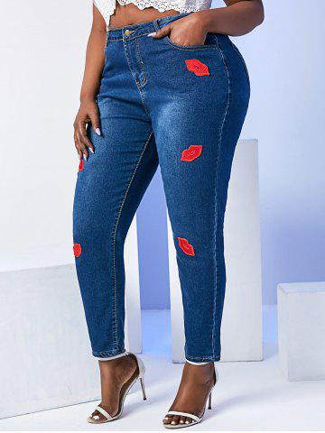 Mid Rise Lips Patched Plus Size Skinny Jeans - DEEP BLUE - 6XL