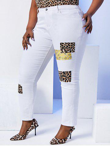 Leopard  Paisley Patched Plus Size Skinny Pants - WHITE - 5XL