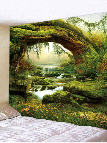 Tree Brook 3D Print Wall Tapestry - FERN GREEN - W91 X L71 INCH