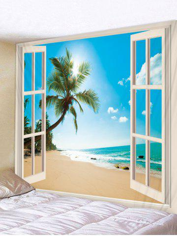 Window Beach Coconut Tree 3D Print Wall Tapestry - DEEP SKY BLUE - W91 X L71 INCH