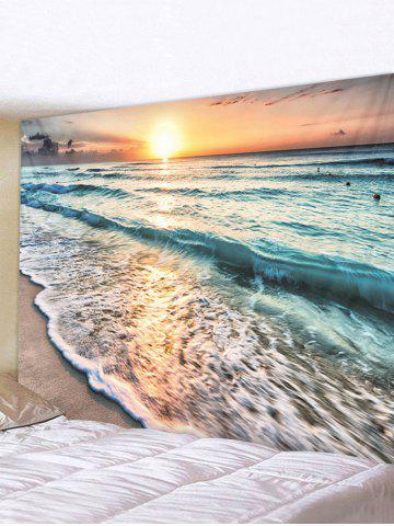 Sunset Beach 3D Print Wall Tapestry - MULTI - W91 X L71 INCH