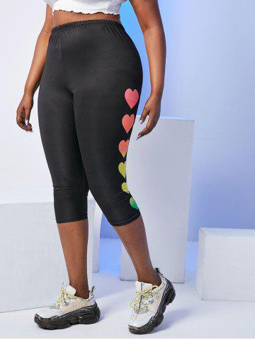 Plus Size Valentine Heart High Rise Capri Leggings - BLACK - 4X