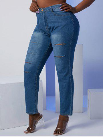 Ladder Distressed Mid Rise Plus Size Skinny Jeans - BLUE - 2XL
