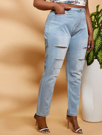 Ladder Distressed Mid Rise Plus Size Skinny Jeans - LIGHT BLUE - XL