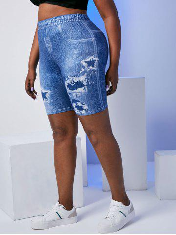 Plus Size High Rise 3D Destroyed Jean Print Short Jeggings - BLUE - 4X