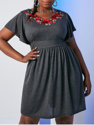 Flutter Sleeve Floral Embroidered Applique Plus Size Dress - GRAY - 3X