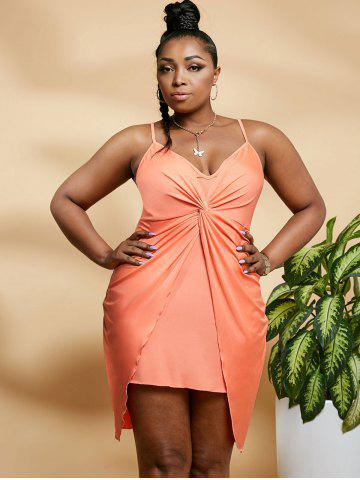 Plus Size Twisted Overlap Bodycon Cami Dress