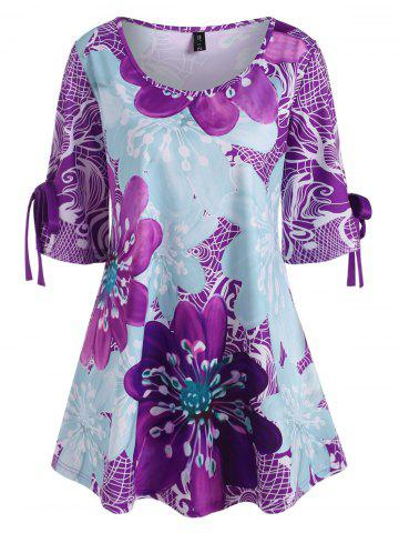 Plus Size Floral Tied Cuffs Tunic Top - LIGHT PURPLE - 4X