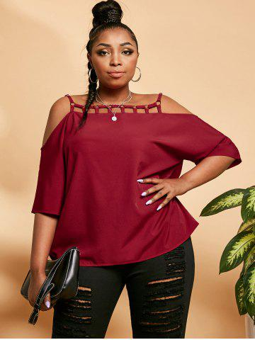 Plus Size Rings Ladder Cutout Cold Shoulder Blouse