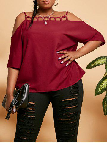 Plus Size Rings Ladder Cutout Cold Shoulder Blouse - DEEP RED - 5X