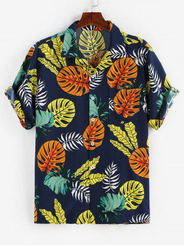 Tropical Leaves Print Short Sleeve Shirt