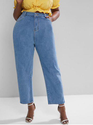 Plus Size High Rise Pocket Wide Leg Jeans