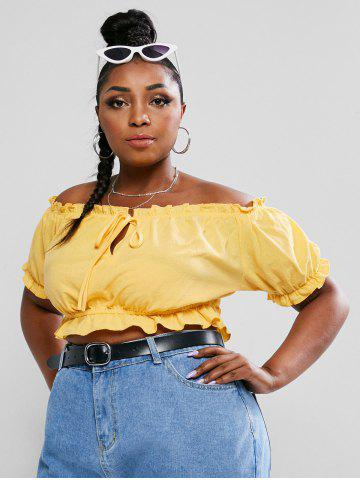 Plus Size Off The Shoulder Tie Knot Crop Top