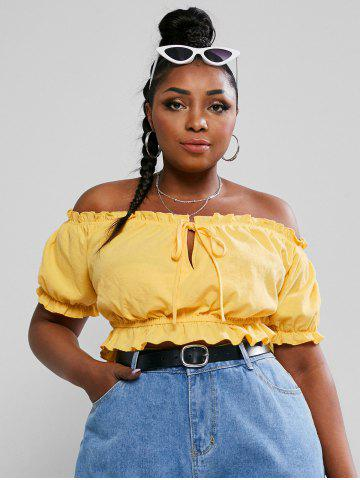Plus Size Off The Shoulder Tie Knot Crop Top - YELLOW - 5XL