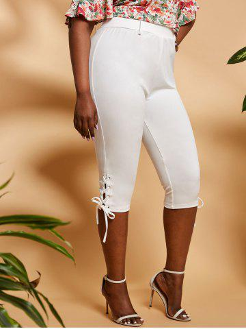 Plus Size High Rise Lace Up Capri Leggings - WHITE - 1X
