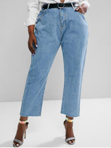 Plus Size High Waisted Raw Hem Tapered Mom Jeans - LIGHT BLUE - 4XL