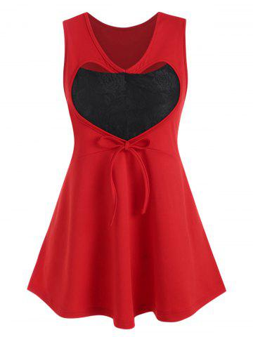Plus Size Valentine Heart Lace Panel Cutout Tank Top - RED - 2X