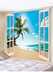 Window Beach Coconut Tree 3D Print Wall Tapestry -