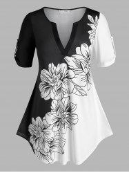 Plus Size Floral Print Roll Up Sleeve Colorblock Tee -
