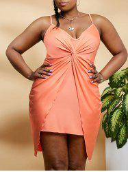Plus Size Twisted Overlap Bodycon Cami Dress -