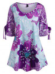 Plus Size Floral Tied Cuffs Tunic Top -