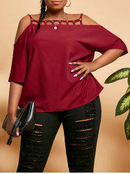 Plus Size Rings Ladder Cutout Cold Shoulder Blouse -