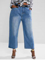 Plus Size High Waisted Straight Leg Light Wash Jeans -