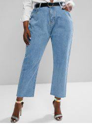 Plus Size High Waisted Raw Hem Tapered Mom Jeans -