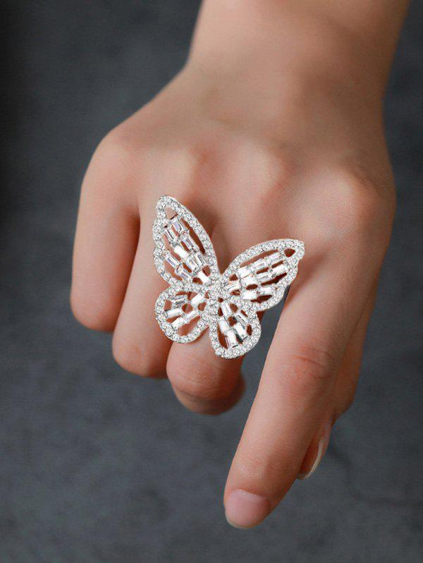 Discount Butterfly Hollow Out Rhinestone Open Ring