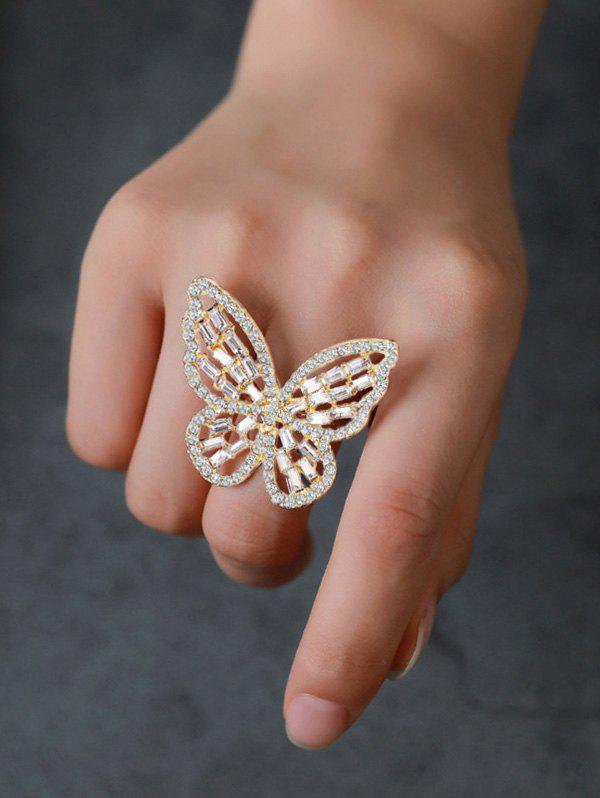 Chic Butterfly Hollow Out Rhinestone Open Ring