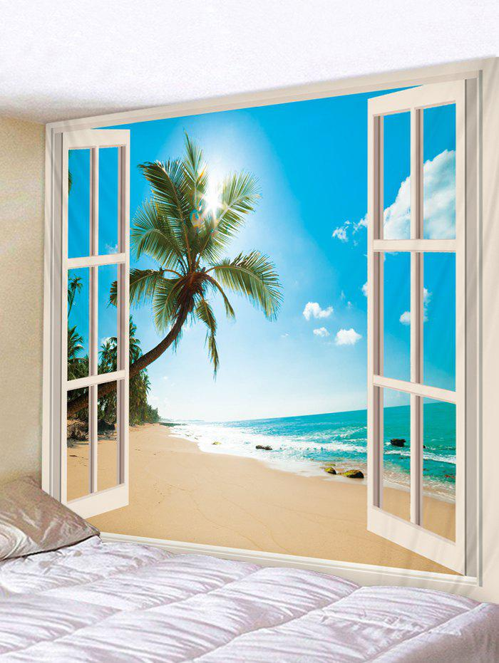 Window Beach Coconut Tree 3D Print Wall Tapestry