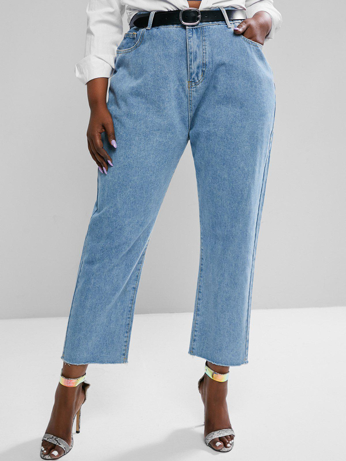 Affordable Plus Size High Waisted Raw Hem Tapered Mom Jeans