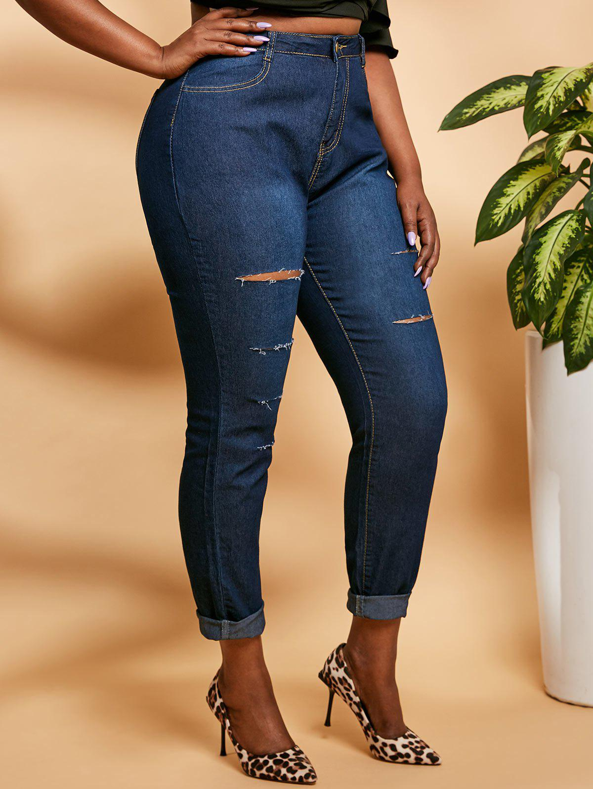 Outfits Ladder Distressed Mid Rise Plus Size Skinny Jeans