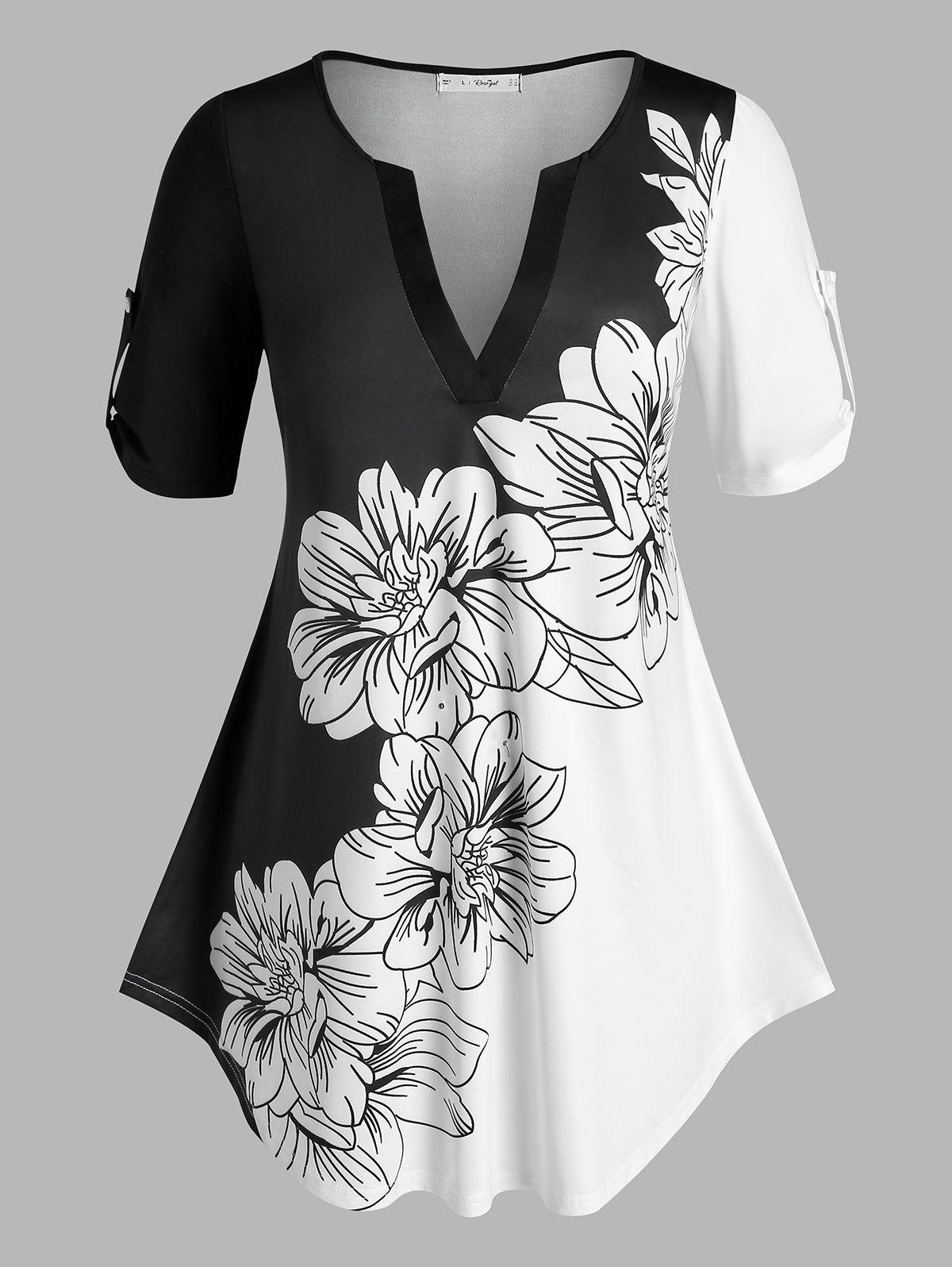 Cheap Plus Size Floral Print Roll Up Sleeve Colorblock Tee