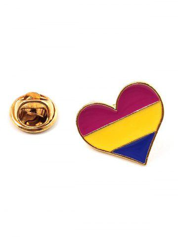 Heart Shaped Rainbow Color Brooch