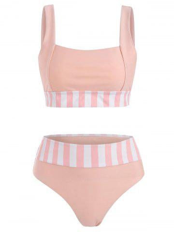 Striped High Rise Square Neck Bikini Swimwear - LIGHT PINK - XXL