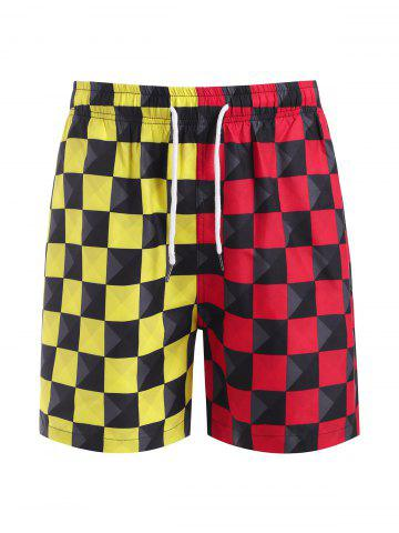 Contrast Checkerboard Print Casual Shorts - RED - L
