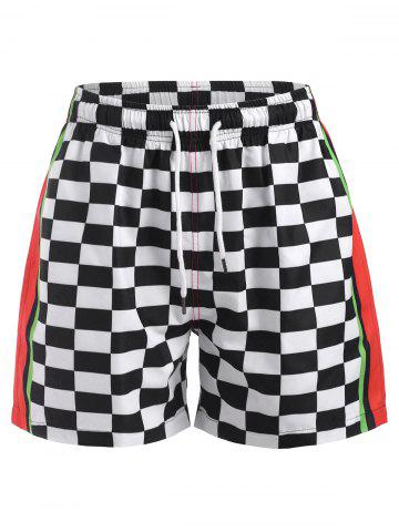 Contrast Panel Checkerboard Print Shorts - WHITE - 2XL