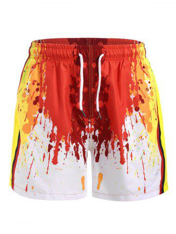 Painting Splash Print Drawstring Shorts - RED - 2XL