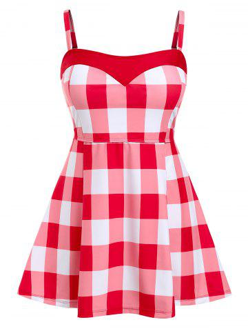 Plus Size Checked High Waisted Tankini Swimwear - RED - L