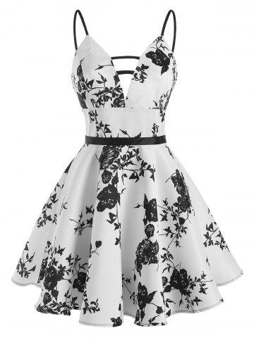 Flower Print Ladder Cut Cami Dress