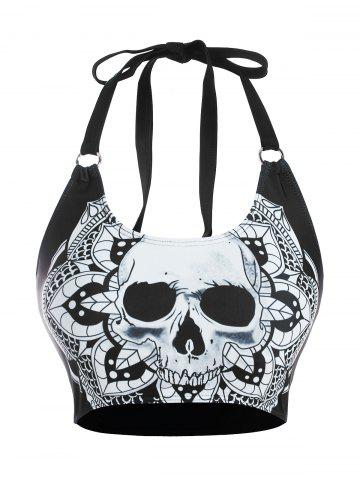 Skull Flower Print O Ring Tank Bikini Top - BLACK - S