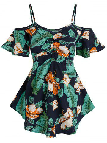 Cold Shoulder Tropical Flower Print T-shirt