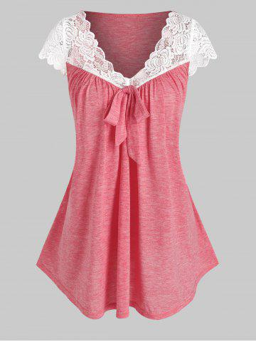 Flower Lace Insert Bowknot Detail Heathered T-shirt