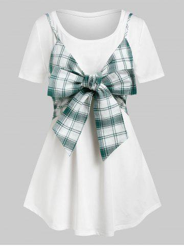 Plus Size Plaid Bowknot Crop Top and Long Tunic Tee Set - GREEN - L