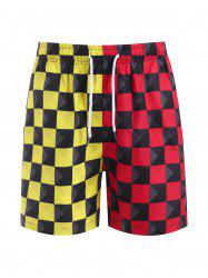 Contrast Checkerboard Print Casual Shorts -